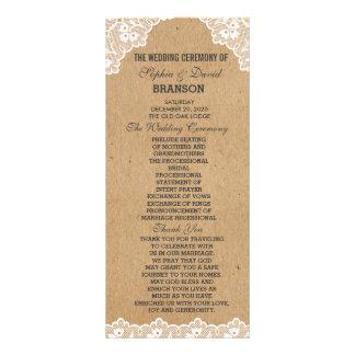 Vintage Lace Craft Paper Wedding Custom Program
