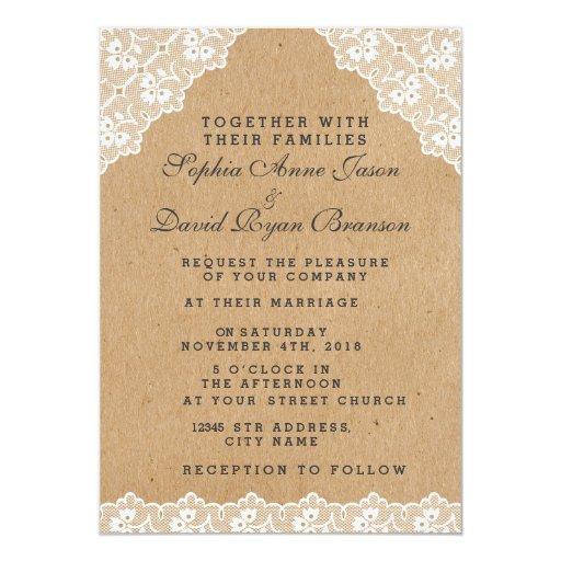 Vintage Lace Craft Paper Wedding Invitation Zazzle