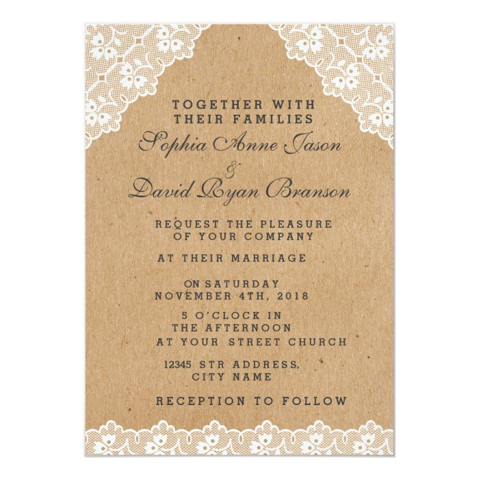 Vintage Lace Craft Paper Wedding Invitation