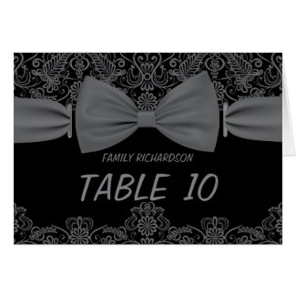 Vintage Lace Dark Bow Wedding Table Numbers Greeting Cards