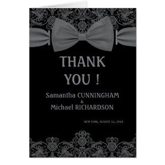 Vintage Lace Dark Bow Wedding Thank You Greeting Card