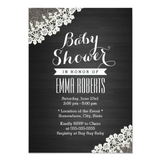 Vintage Lace Dark Wood Baby Shower Invitations