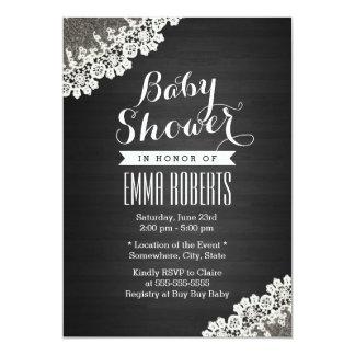 Vintage Lace Dark Wood Baby Shower Invitations