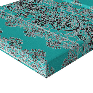 Vintage Lace Deep Peacock Blue Stretched Canvas