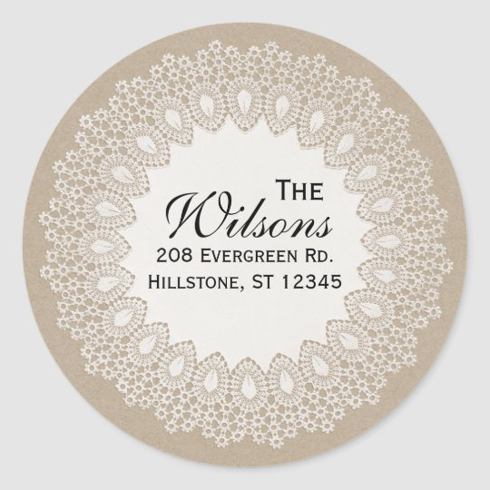 Vintage Lace Doily Return Address Round Label