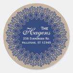 Vintage Lace Doily Return Address Round Label Navy Sticker