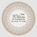 Vintage Lace Doily Return Address Round Label Classic Round Sticker