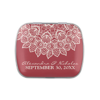 Vintage Lace Doily Wedding Favor Tins (red) Candy Tins