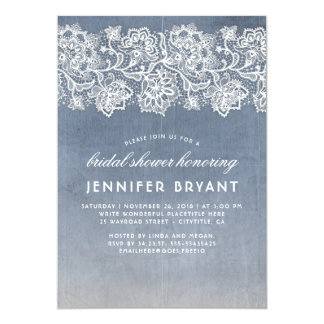 Vintage Lace Dusty Blue Bridal Shower Card