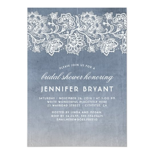 vintage lace dusty blue bridal shower invitation