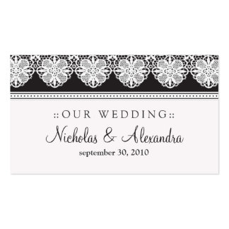 Vintage Lace Ebony Wedding Website Card Double-Sided Standard Business Cards (Pack Of 100)