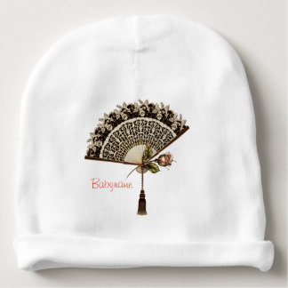 Vintage Lace Fan & Pink Rose Bud Personalized Baby Beanie