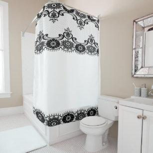 Vintage Lace Floral Blk White Classic Shower Curtain