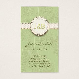 Vintage Lace Floral Novelist Business Card