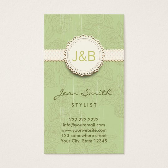 Vintage Lace Floral Pattern Stylist Business Card