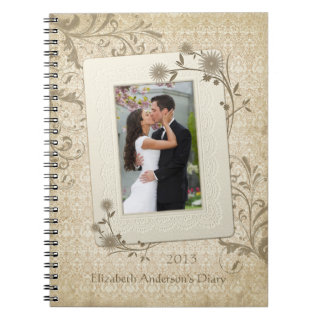 Vintage Lace Floral Personalized Photo Notebook
