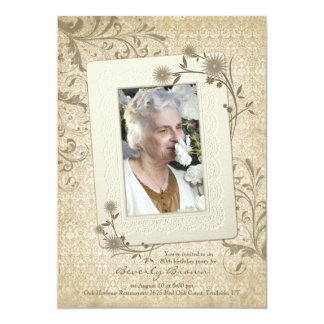 "Vintage Lace Floral Photo 80th Birthday Invitation 5"" X 7"" Invitation Card"