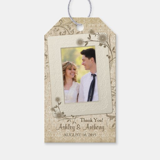 Vintage Wedding Gift Tags : Vintage Lace Floral Photo Wedding Thank You Gift Tags Zazzle