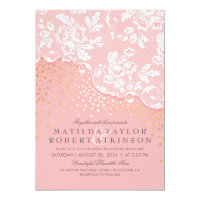 Vintage Lace Gold Confetti Pink Wedding Card