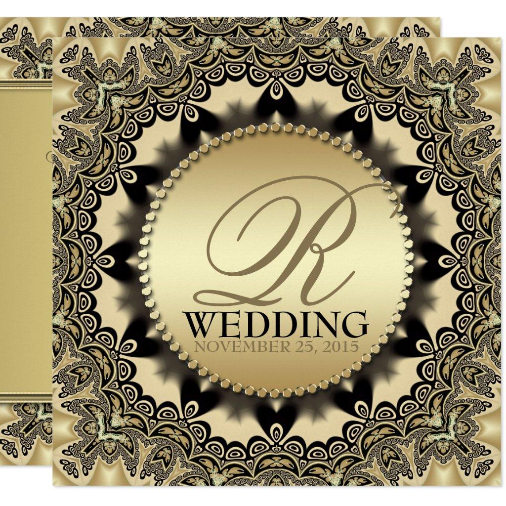 Vintage Lace Golden Wedding Party Invite