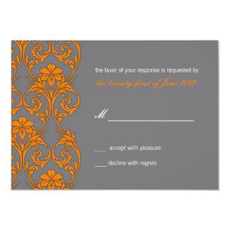 Vintage Lace Gray and Orange Wedding RSVP Card