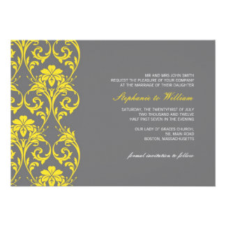 Vintage Lace Gray and Yellow Wedding Invitation