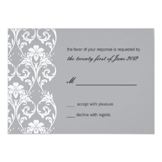 Vintage Lace Gray Wedding RSVP Card