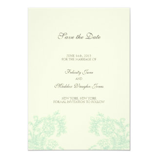 Vintage Lace | Grayed Jade | Save the Date 5x7 Paper Invitation Card