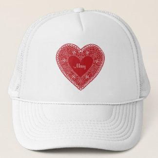 Vintage Lace Heart Trucker Hat