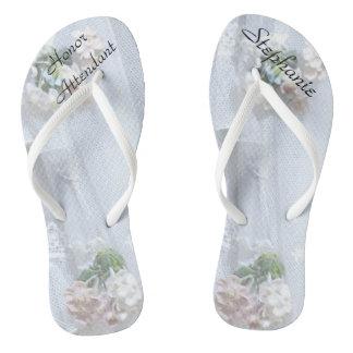 Vintage Lace Honor Attendant Wedding Flip Flops