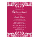 Hand shaped Vintage Lace Hot Pink Quinceanera Invitation