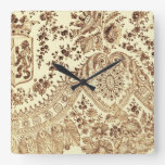 Vintage Lace In Brown Square Wall Clock at Zazzle