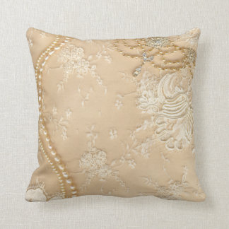 Vintage Lace Jewelry Monogram Throw Couch Pillow Pillows