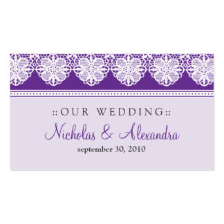 Vintage Lace Lavender Wedding Website Card Double-Sided Standard Business Cards (Pack Of 100)