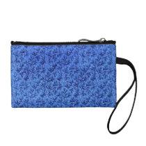 Vintage Lace Leaf Retro Floral Sapphire Blue Coin Wallet