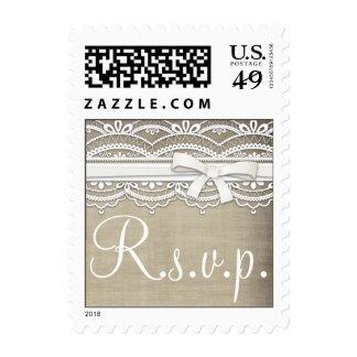 Vintage Lace & Linen Burlap RSVP Postage