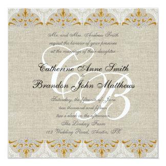 Vintage Lace Linen Gold Wedding Monogram Damask Personalized Invite
