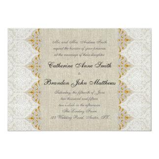 Vintage Lace Linen Gold Wedding Monogram Damask Custom Invitations