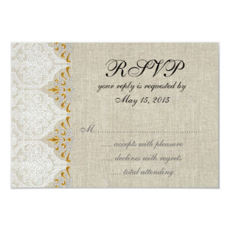 Vintage Lace Linen Gold Wedding RSVP Damask Personalized Announcements