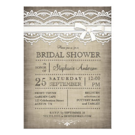 Vintage Lace & Linen Rustic Country Bridal Shower Personalized Invite