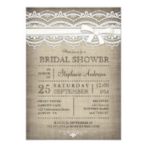 """Vintage Lace & Linen Rustic Country Bridal Shower 5"""" X 7"""" Invitation Card"""