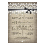 Vintage Lace & Linen Rustic Country Bridal Shower Personalized Announcements