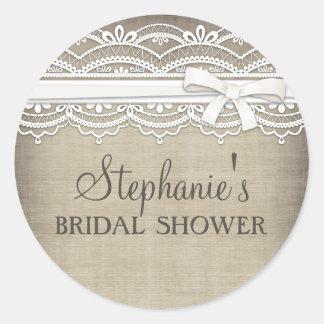 Vintage Lace & Linen Rustic Elegance Bridal Shower Classic Round Sticker