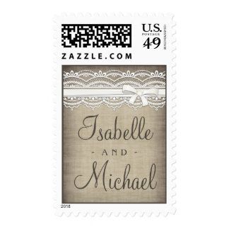 Vintage Lace & Linen Rustic Personalized Postage