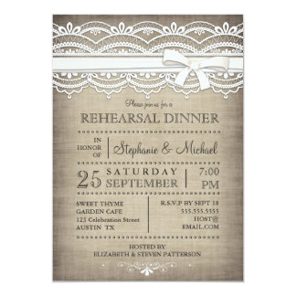 Vintage Lace & Linen Rustic Rehearsal Dinner Card