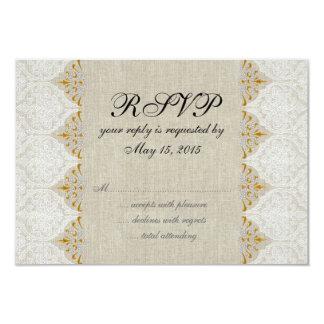 Vintage Lace Linen Rustic Wedding RSVP Custom Invites