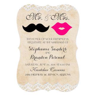 Vintage Lace Lips & Stache Invitations