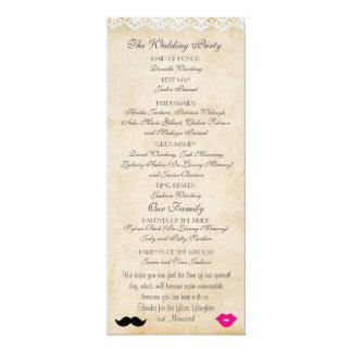Vintage Lace Lips & Stache Wedding Program Card