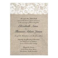 Vintage Lace Look & Burlap Look Wedding Invitation