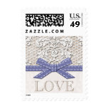 Vintage Lace Love Wedding Postage Stamps Pink